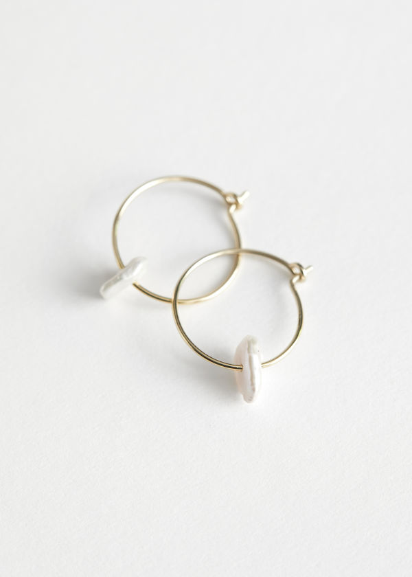 Pearl Pendant Mini Hoop Earrings