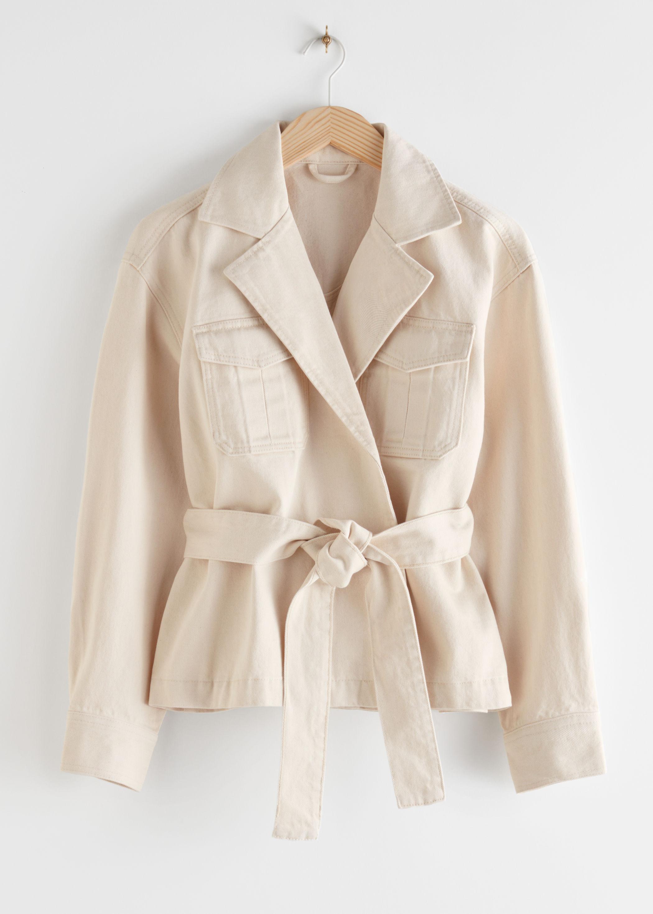 앤 아더 스토리즈 & OTHER STORIES Belted Denim Wrap Jacket,White