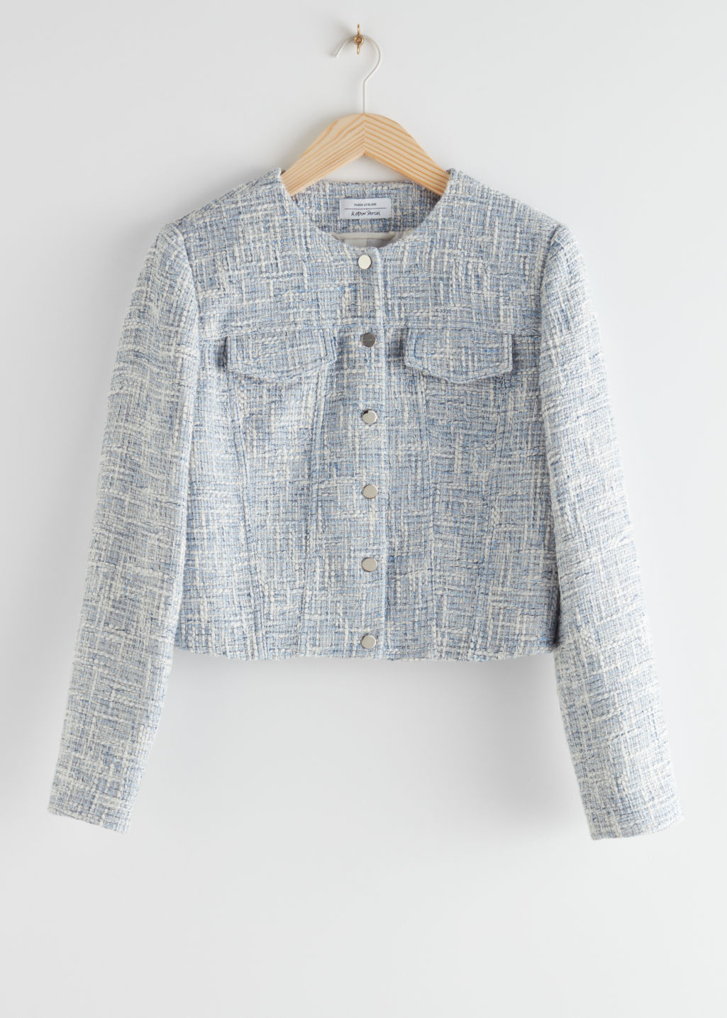 StillLife Front Image of Stories Tailored Tweed Jacket in Blue