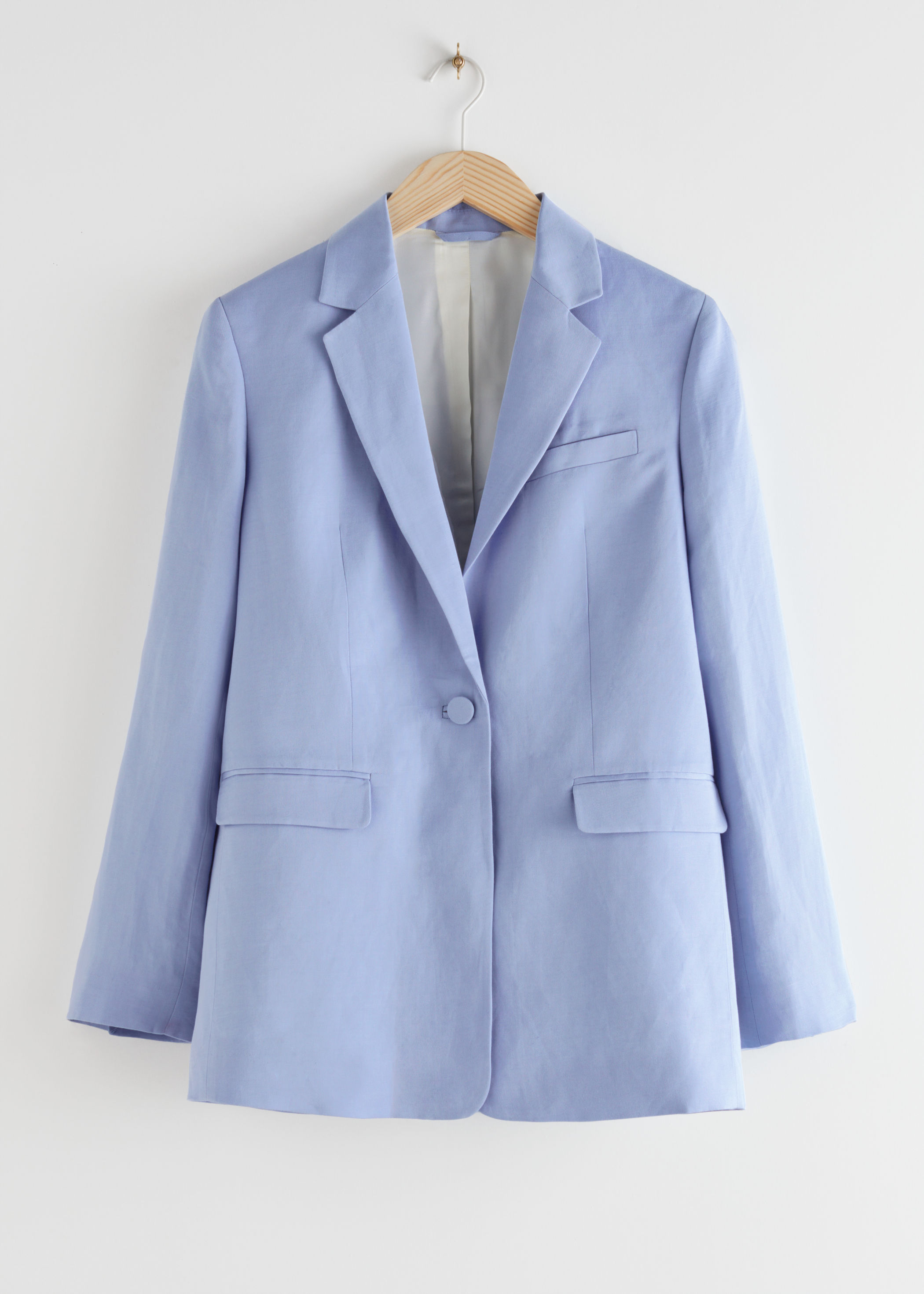 앤 아더 스토리즈 & OTHER STORIES Linen Blend Twill Blazer,Light Blue