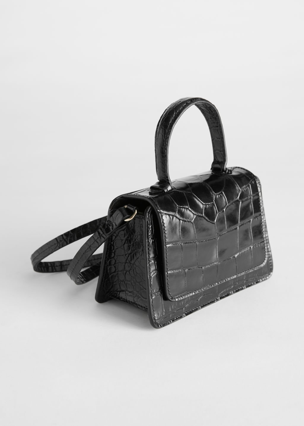 StillLife Front Image of Stories Croc Embossed Mini Leather Bag in Black