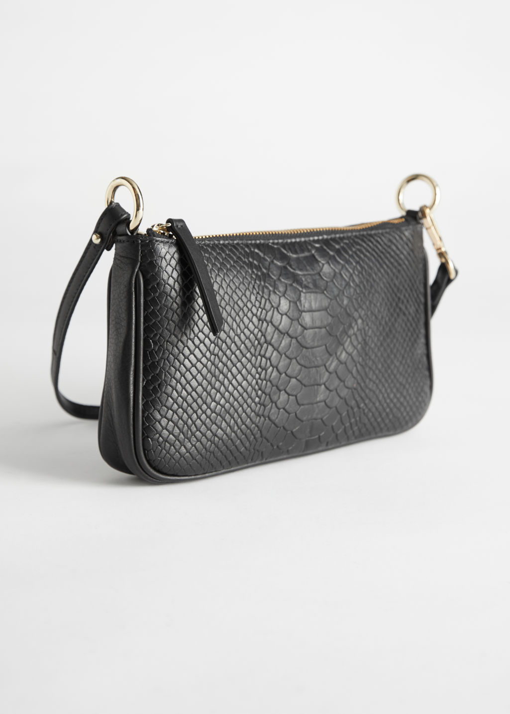 StillLife Front Image of Stories Croc Leather Mini Shoulder Bag in Black