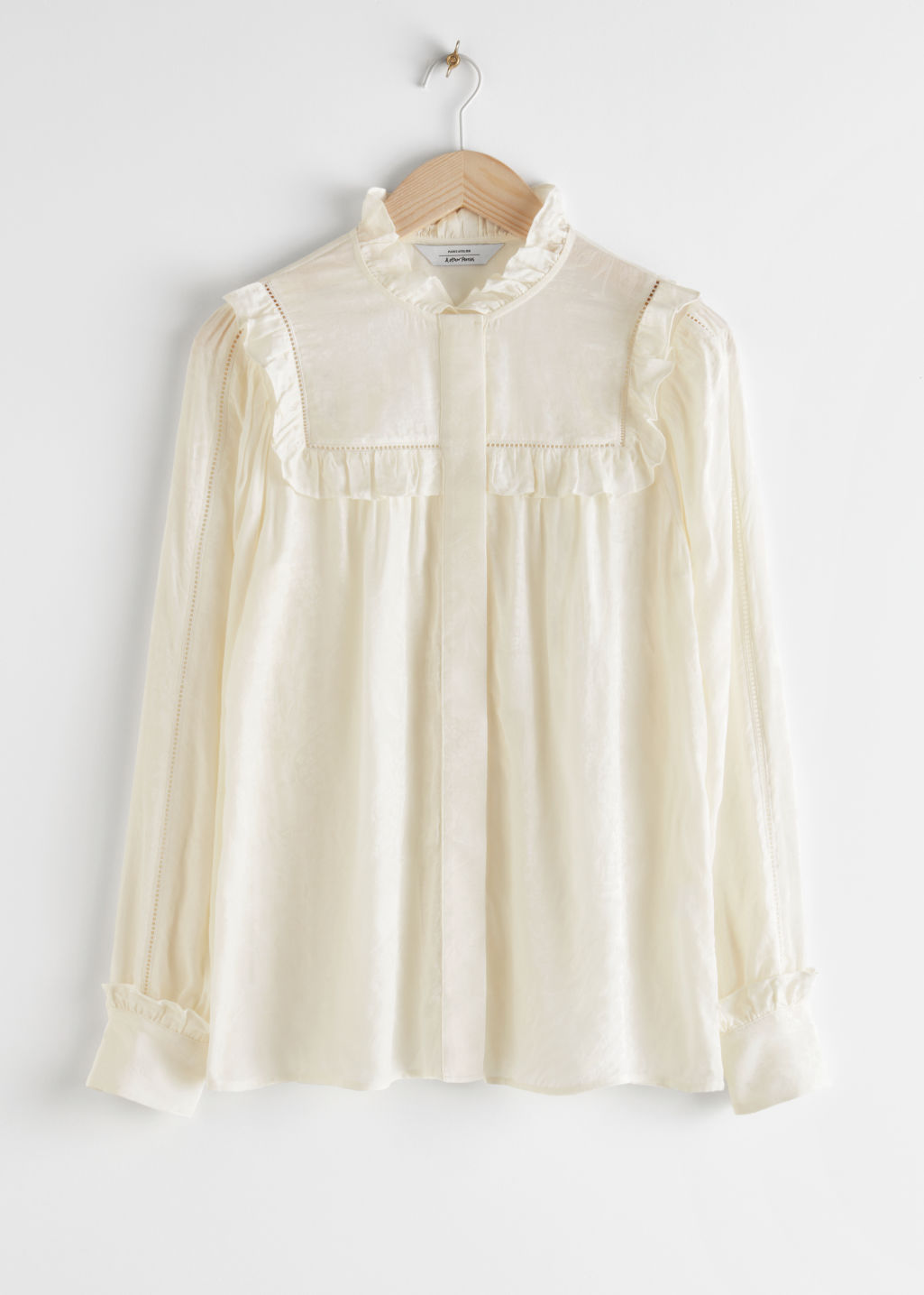 StillLife Front Image of Stories Jacquard Frill Blouse in White