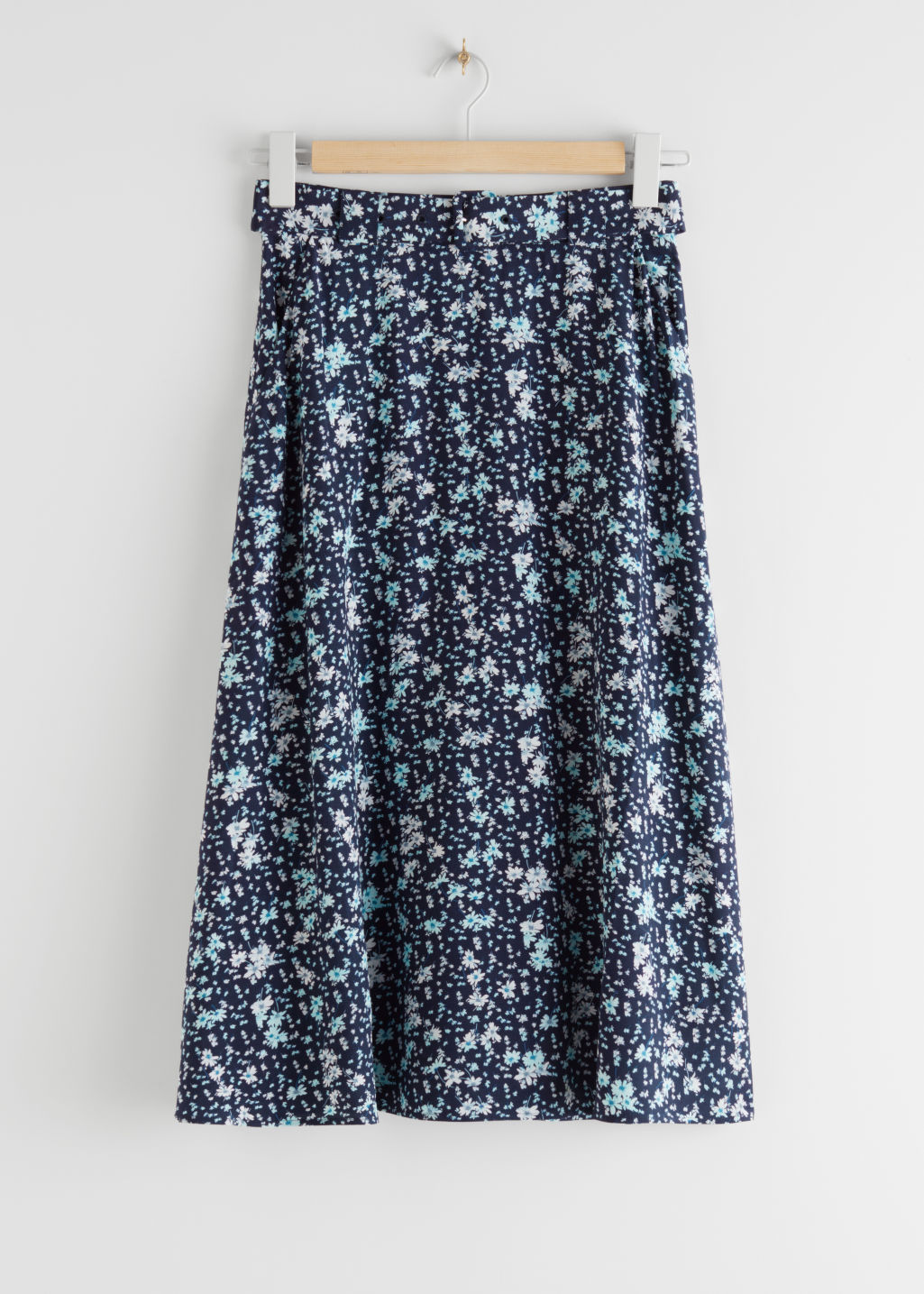 StillLife Front Image of Stories Belted Midi Skirt in Blue