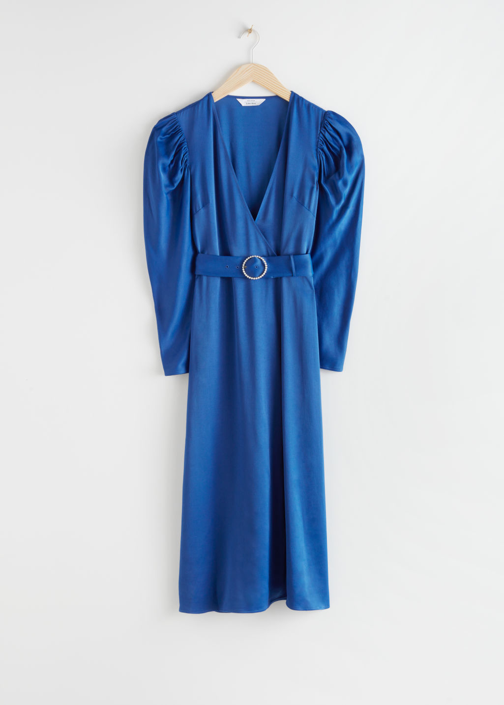 StillLife Front Image of Stories Pearl Buckle Belted Midi Dress in Blue