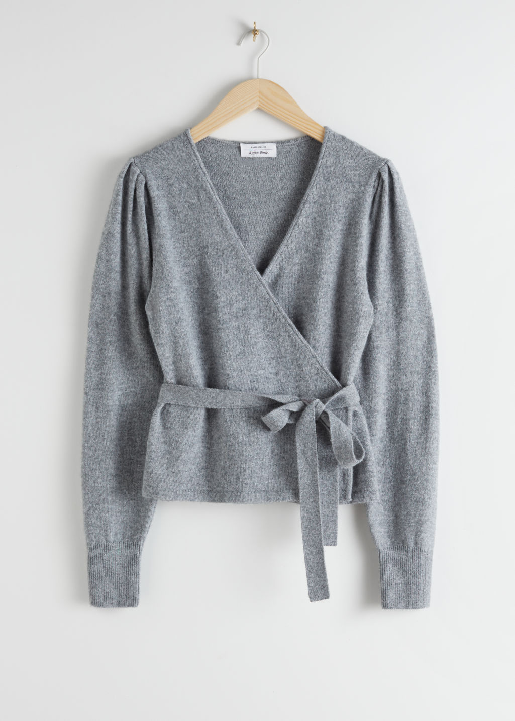 Front image of Stories wool alpaca blend wrap cardigan in grey