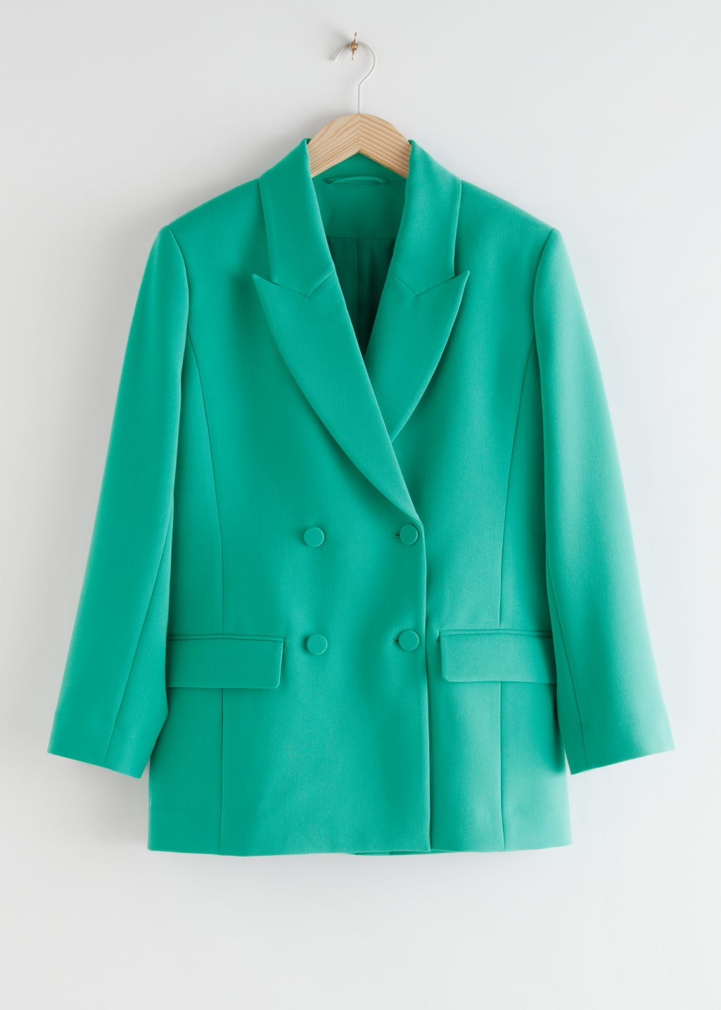 StillLife Front Image of Stories Oversized Double Breasted Blazer in Green