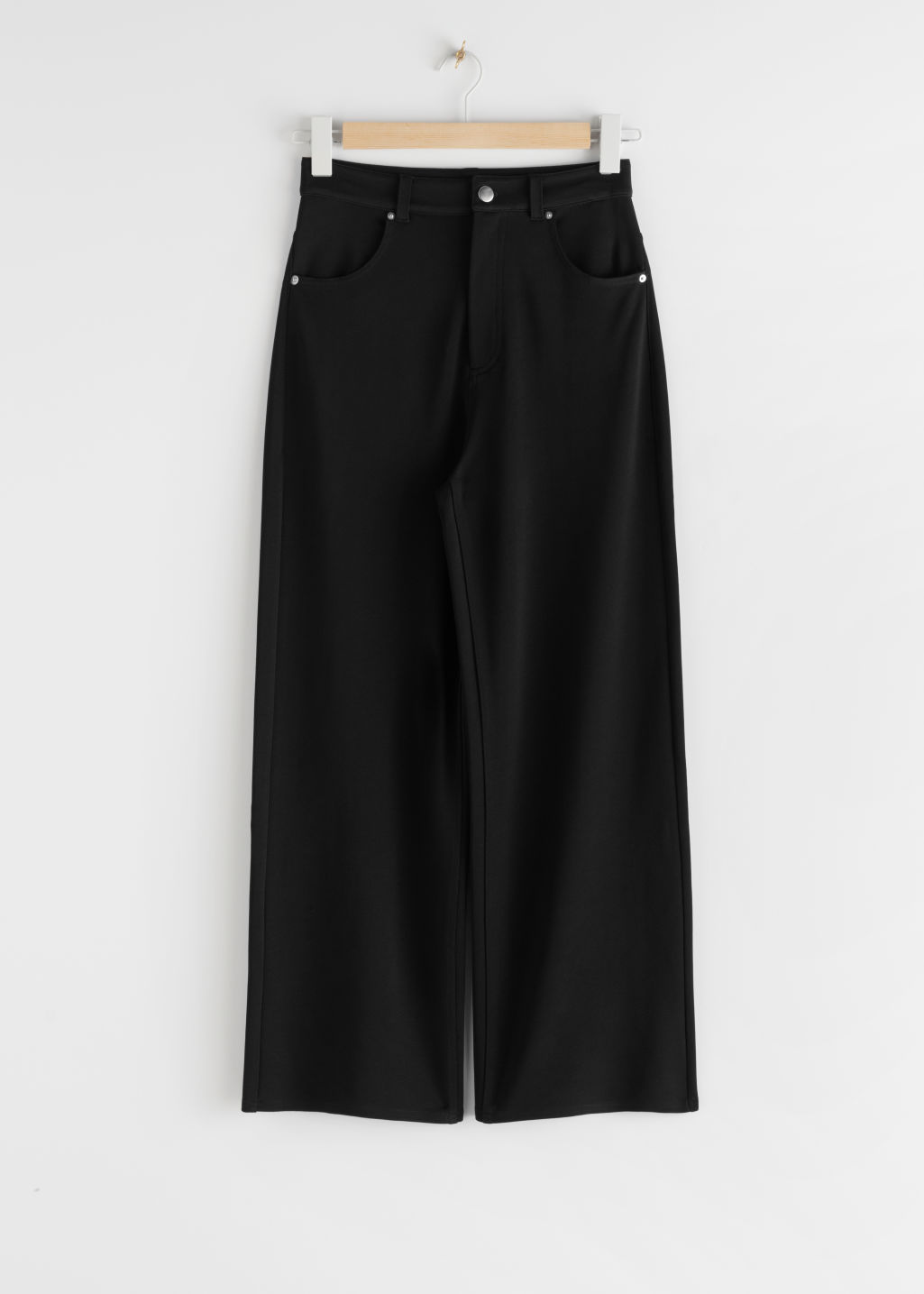 StillLife Front Image of Stories Straight Leg Trousers in Black