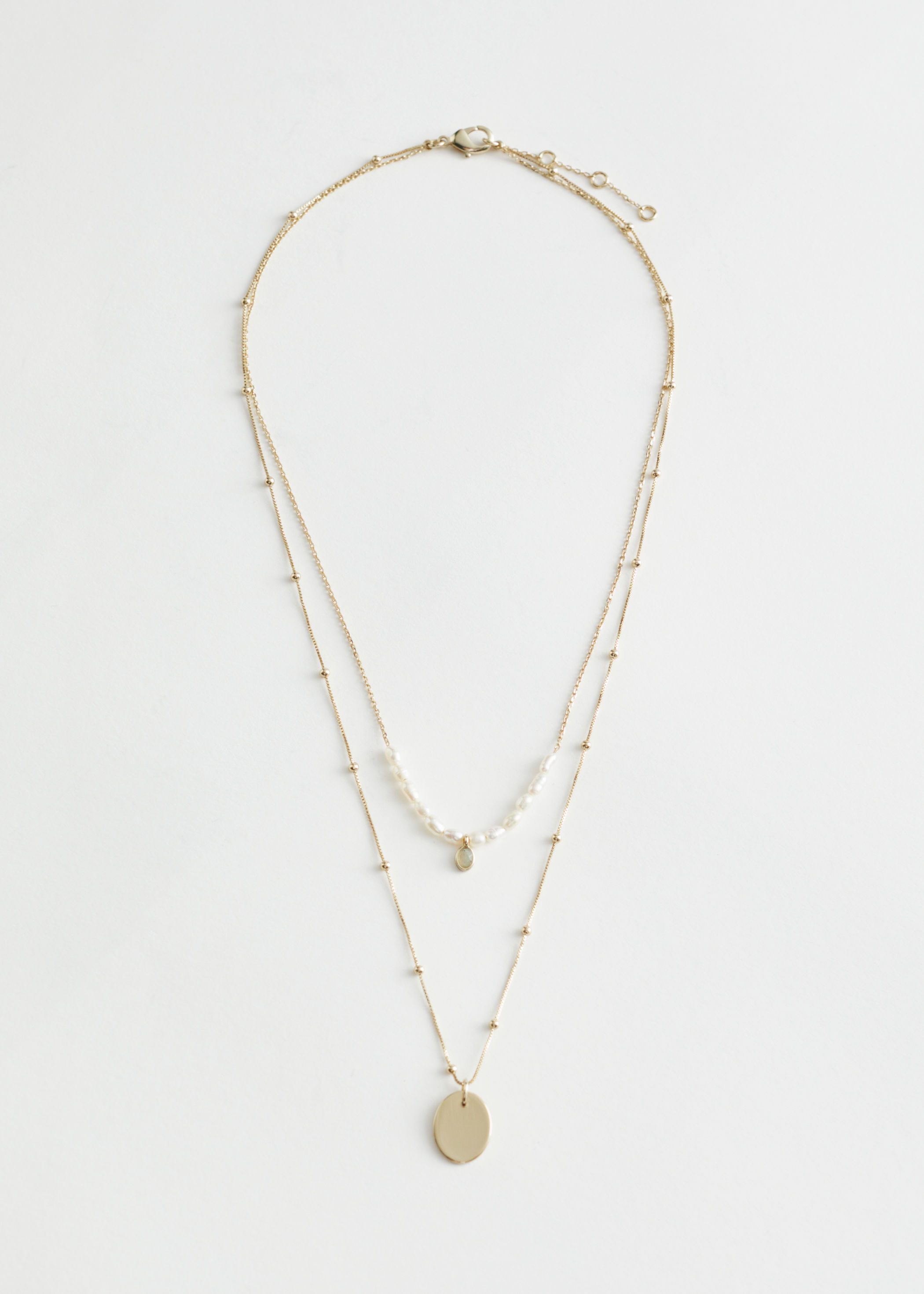 Duo Chain Pearl Pendant Necklace