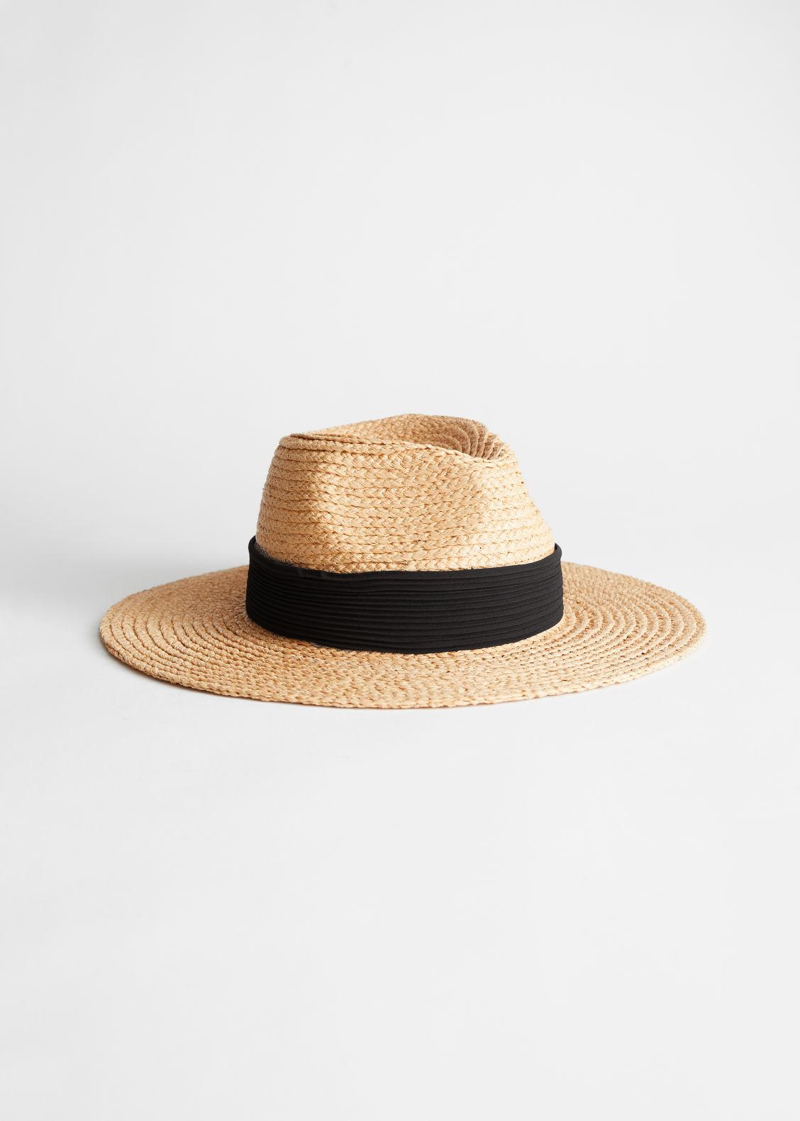 앤 아더 스토리즈 스트로우햇 & OTHER STORIES Ribbon Brim Woven Straw Hat,Natural Straw
