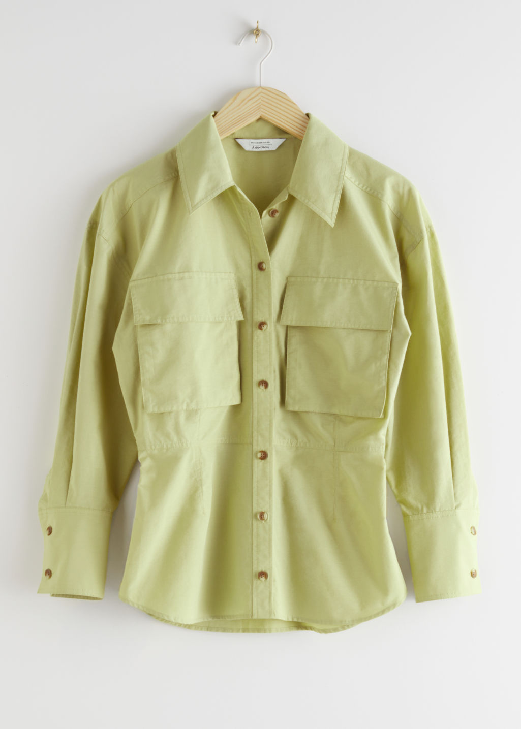 StillLife Front Image of Stories Voluminous Utility Shirt in Green