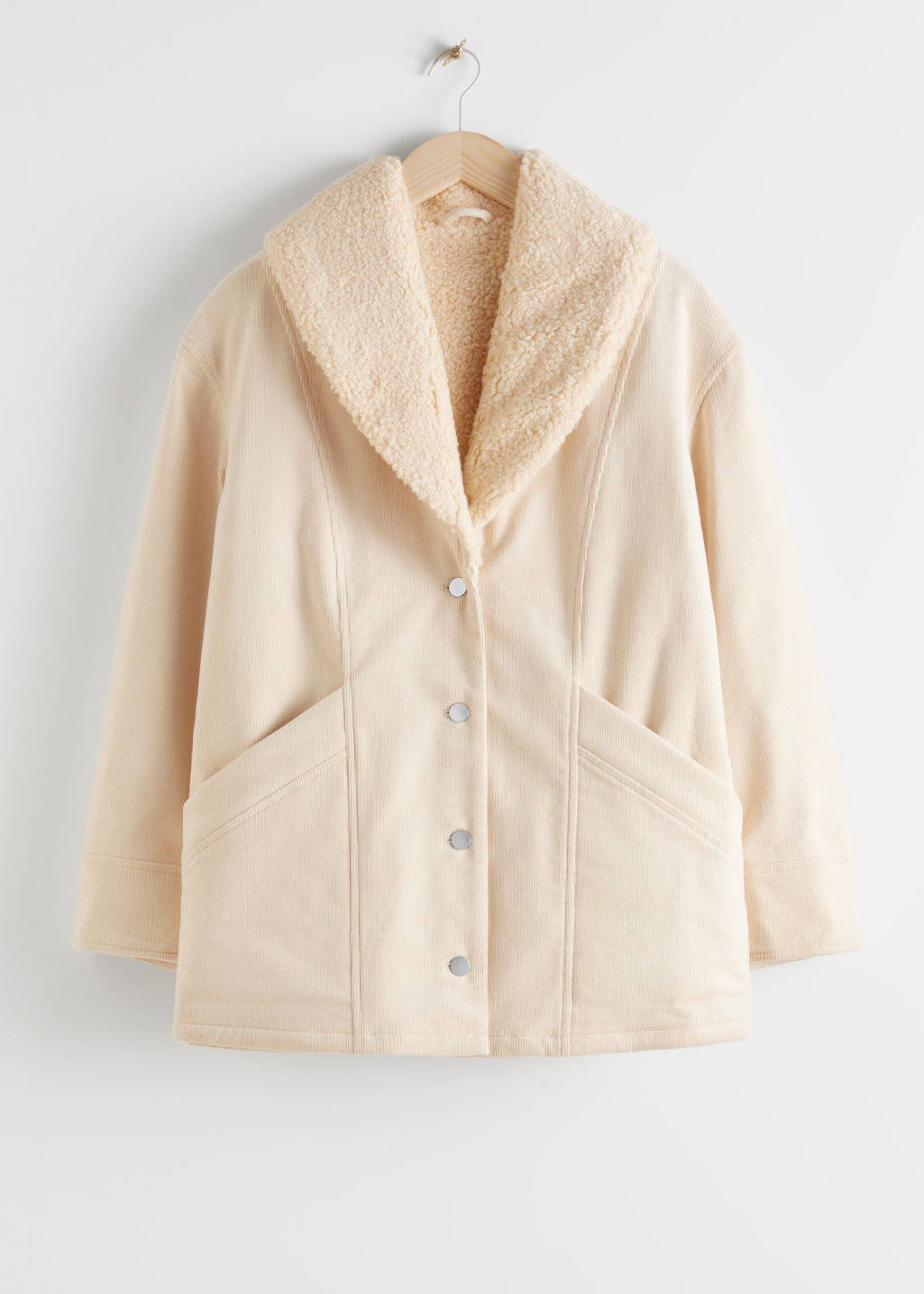 Front image of Stories organic cotton blend shearling collar coat in beige
