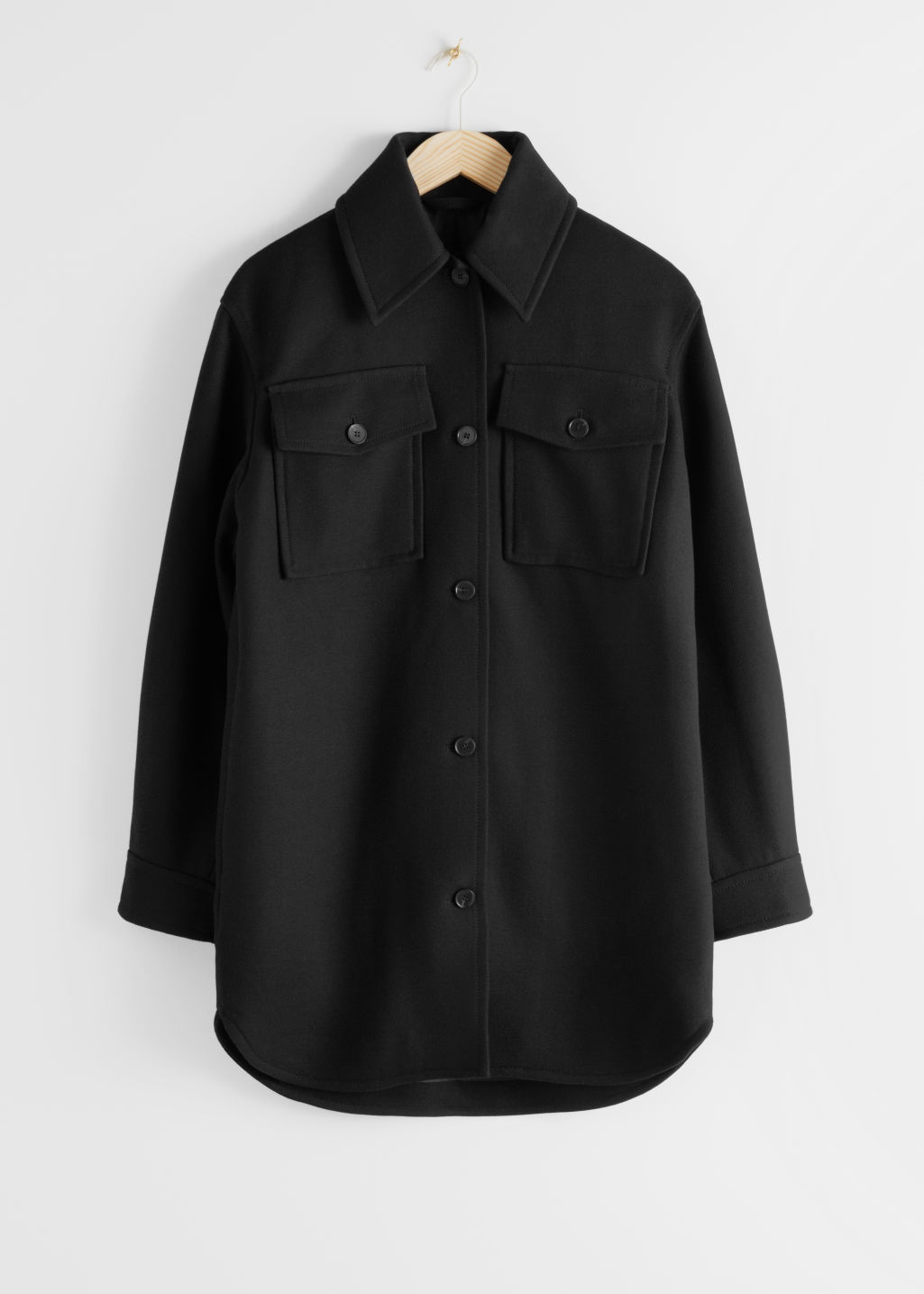 StillLife Front Image of Stories Long Wool Blend Workwear Shirt in Black