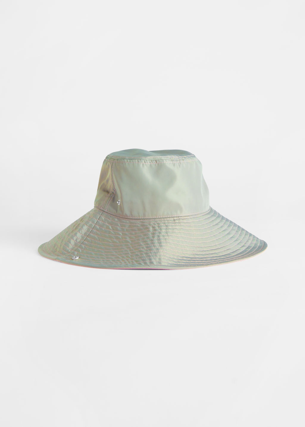 StillLife Front Image of Stories Duo Tone Wide Bucket Hat in Green
