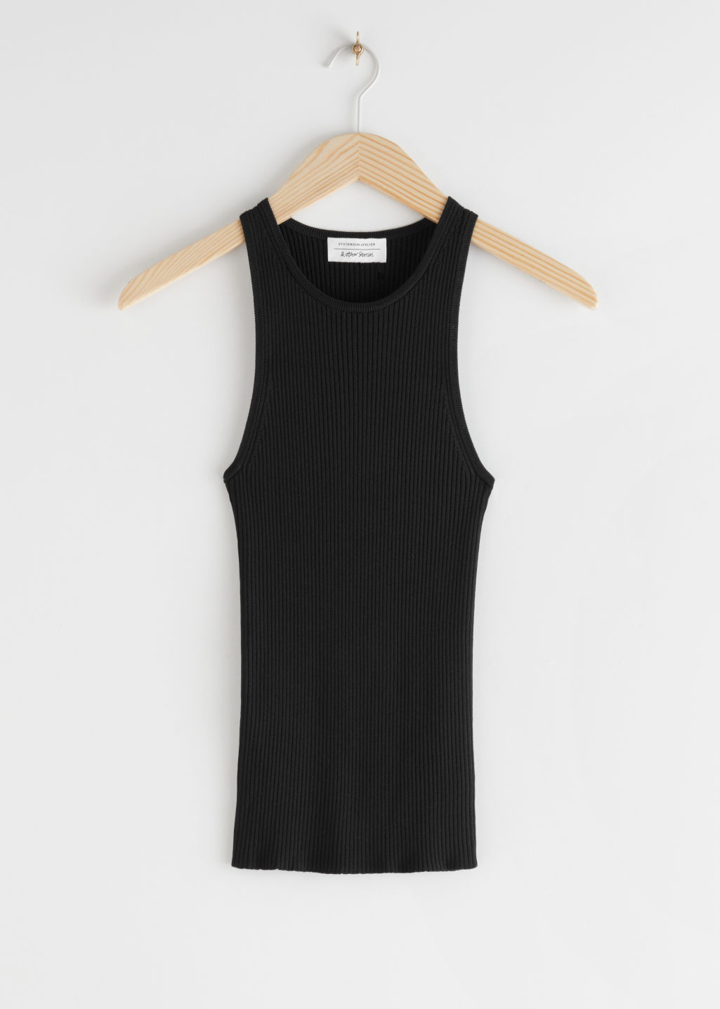 StillLife Front Image of Stories Fitted Ribbed Tank Top in Black