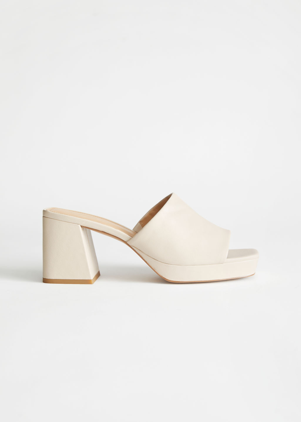 StillLife Side Image of Stories Leather Heeled Platform Mules in White