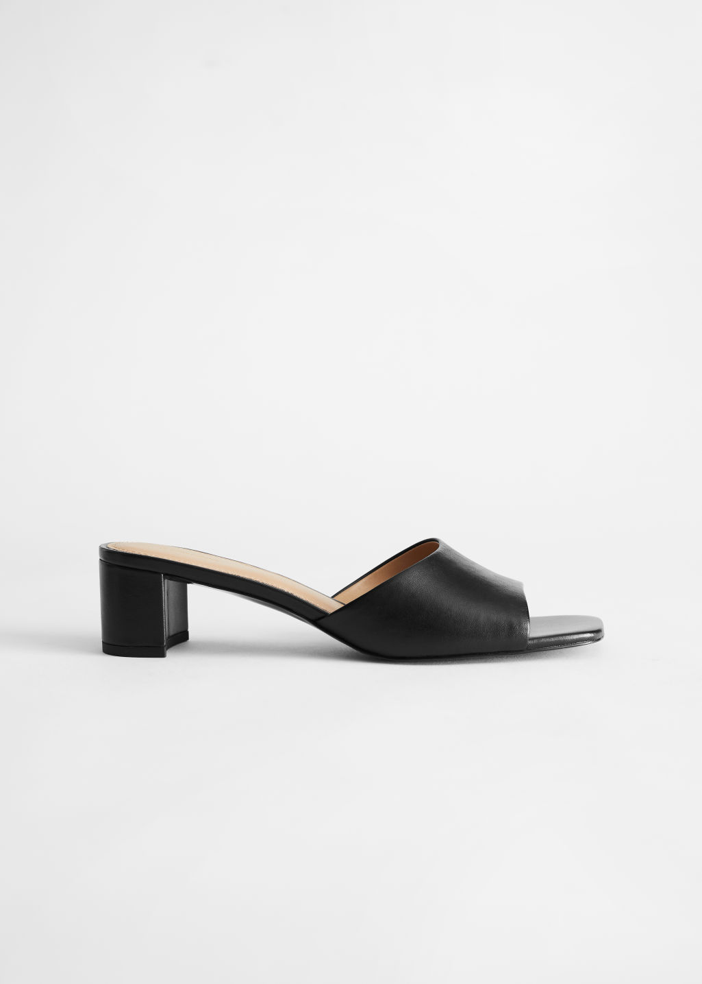 StillLife Front Image of Stories Heeled Leather Square Toe Sandal in Black