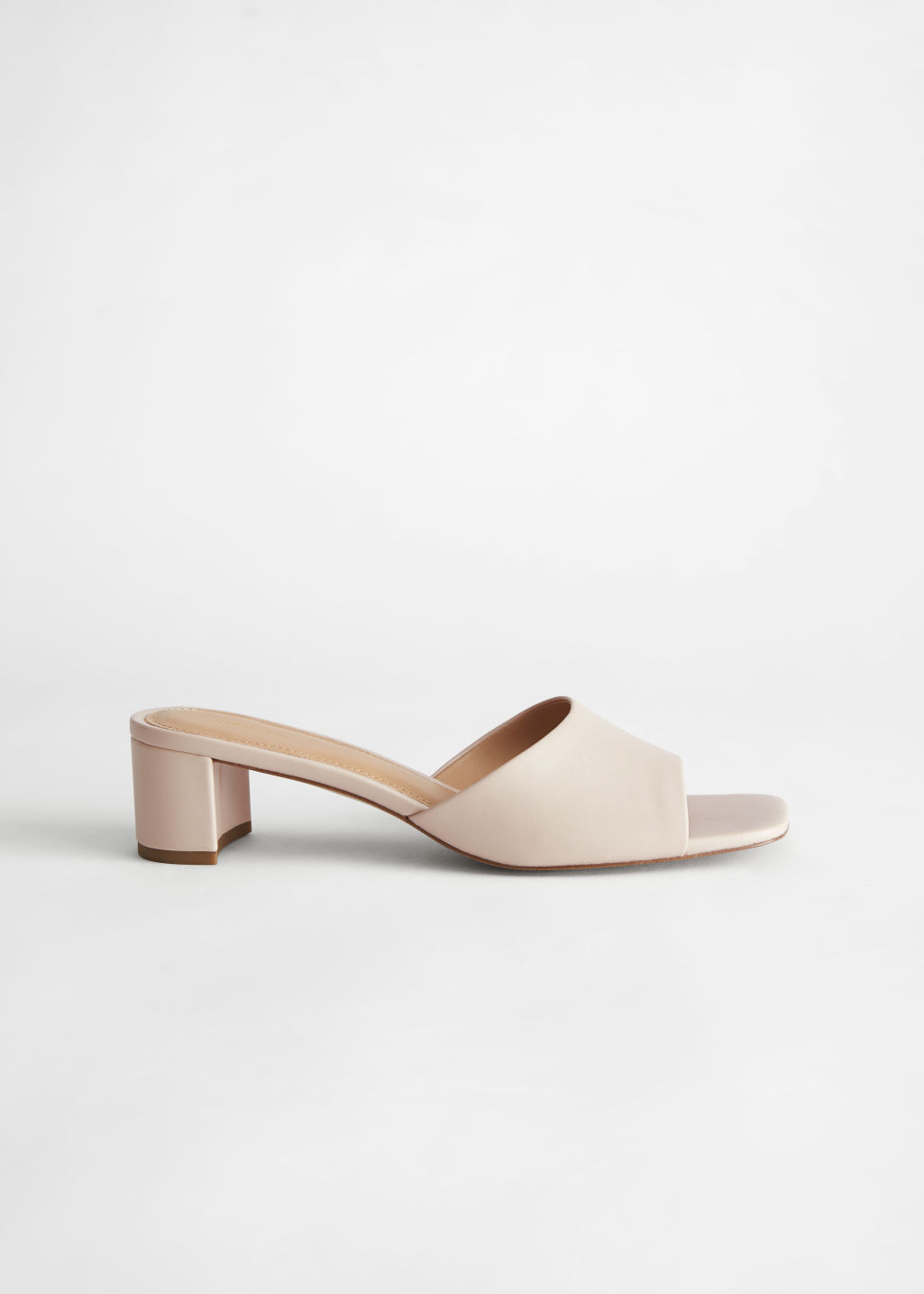 StillLife Side Image of Stories Heeled Leather Square Toe Sandal in White