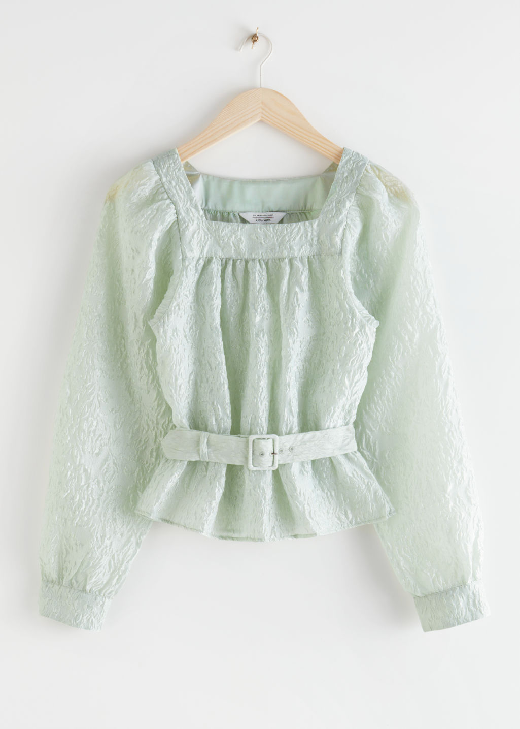 StillLife Front Image of Stories Belted Bubble Sleeve Crepe Top in Green