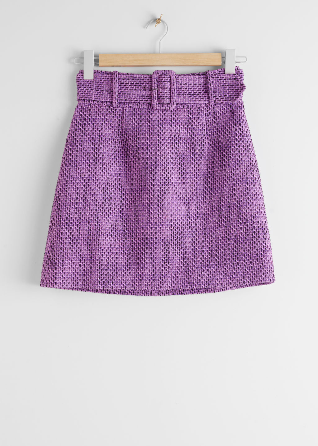 StillLife Front Image of Stories Belted Tweed Mini Skirt in Purple