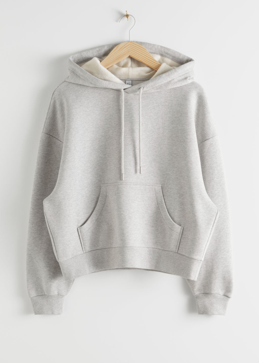Front image of Stories oversized boxy hooded sweatshirt in grey
