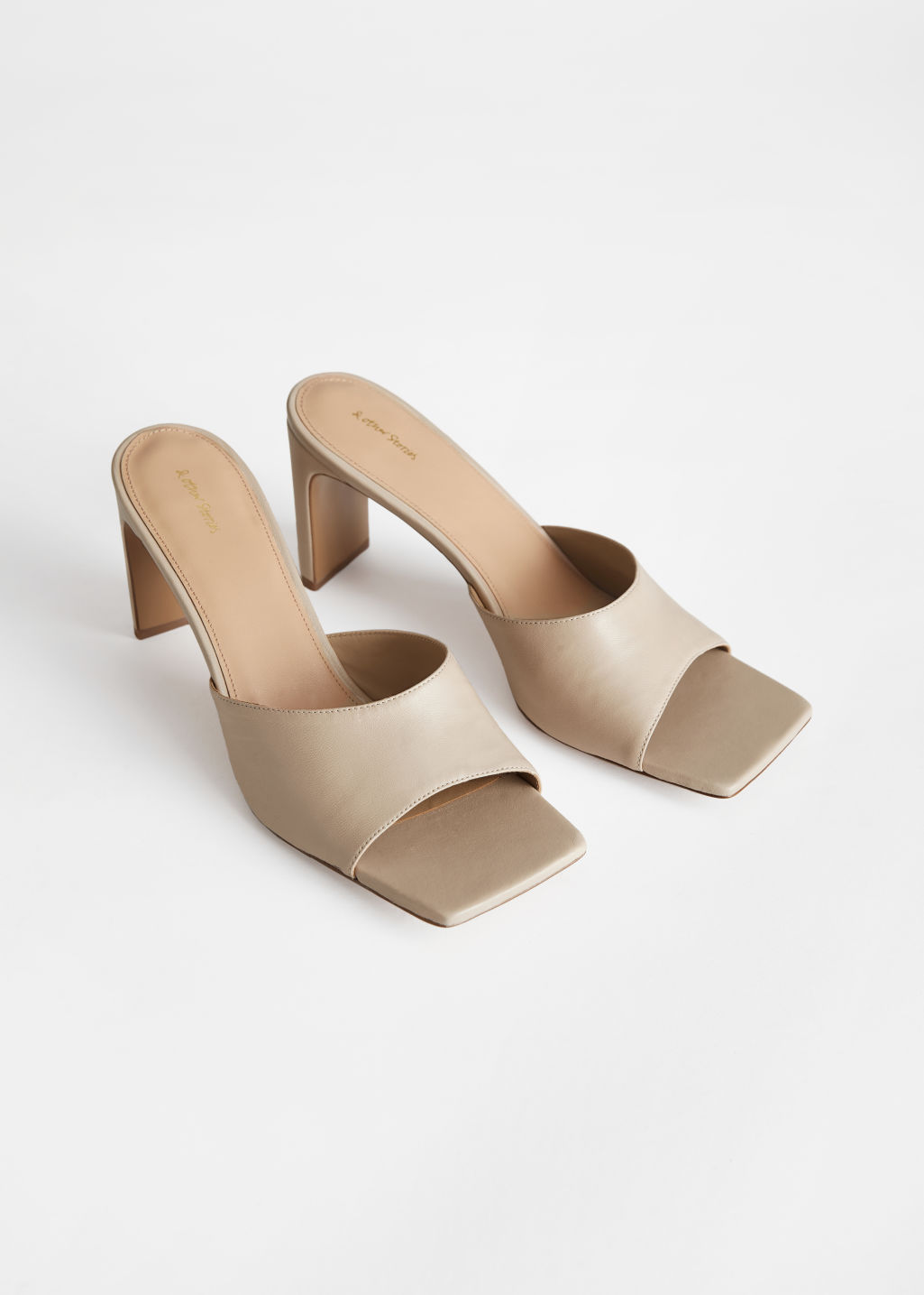StillLife Front Image of Stories Heeled Leather Square Toe Sandals in Beige
