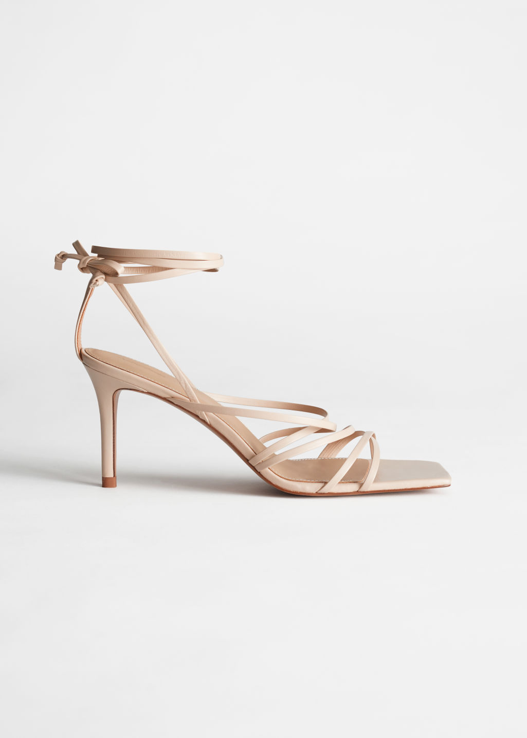 StillLife Side Image of Stories Square Toe Leather Heeled Sandals in Beige