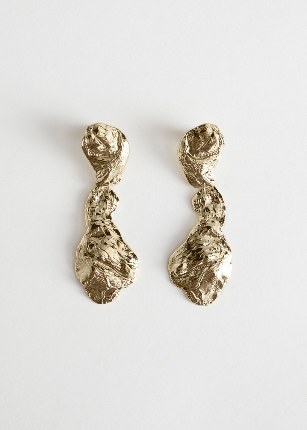 StillLife Front Image of Stories Hammered Finish Dangling Earrings in Gold