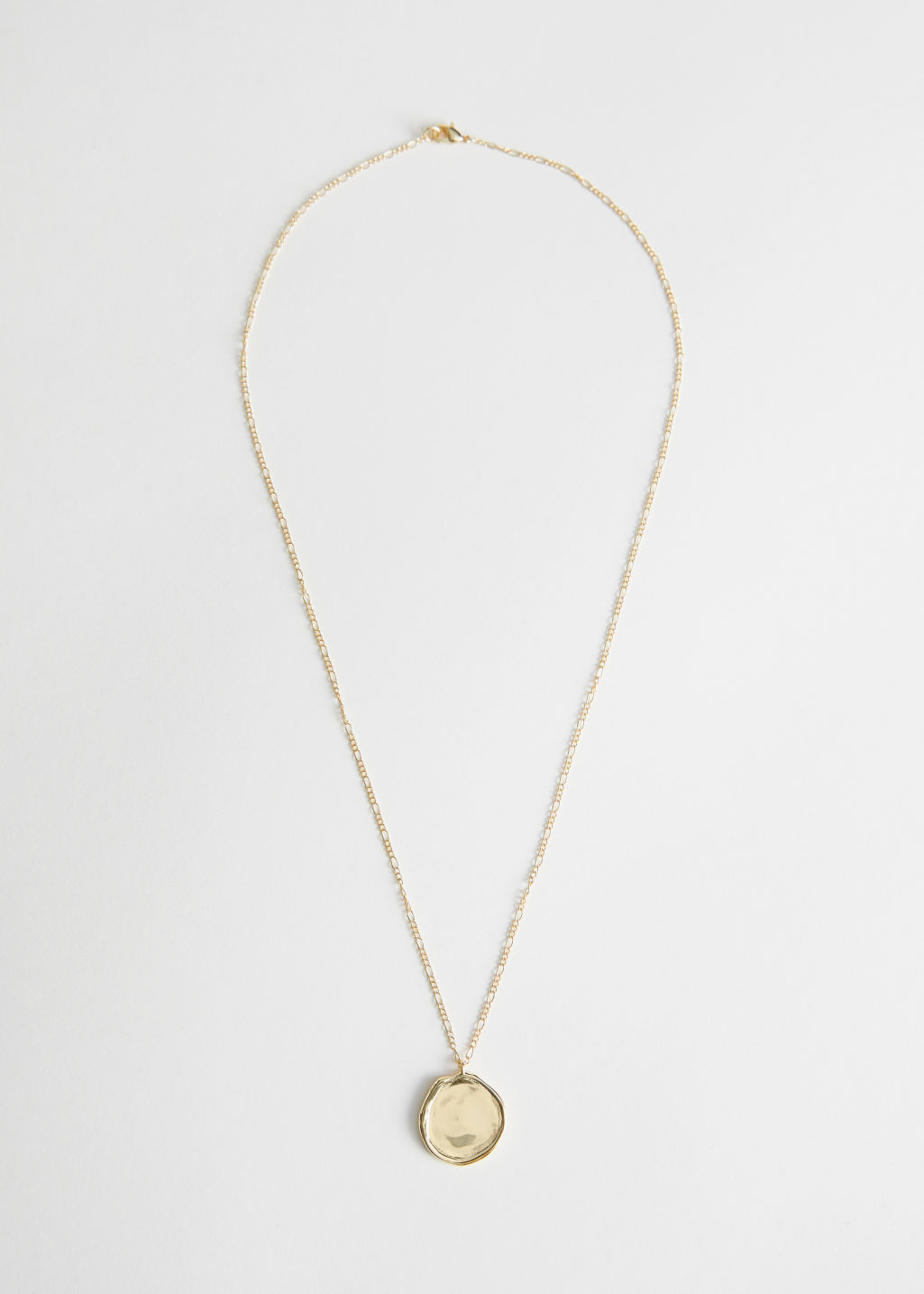 Front image of Stories circle pendant chain necklace in gold