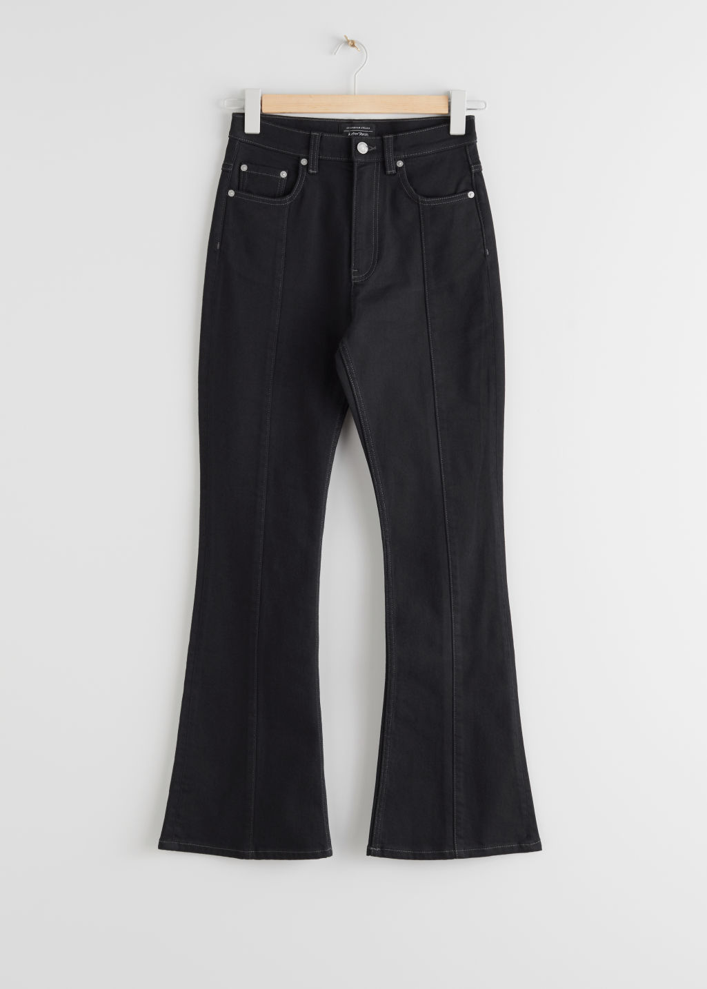 StillLife Front Image of Stories High Rise Flared Jeans in Black