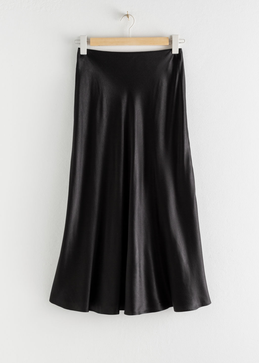 StillLife Front Image of Stories Bias Cut Satin Midi Skirt in Black