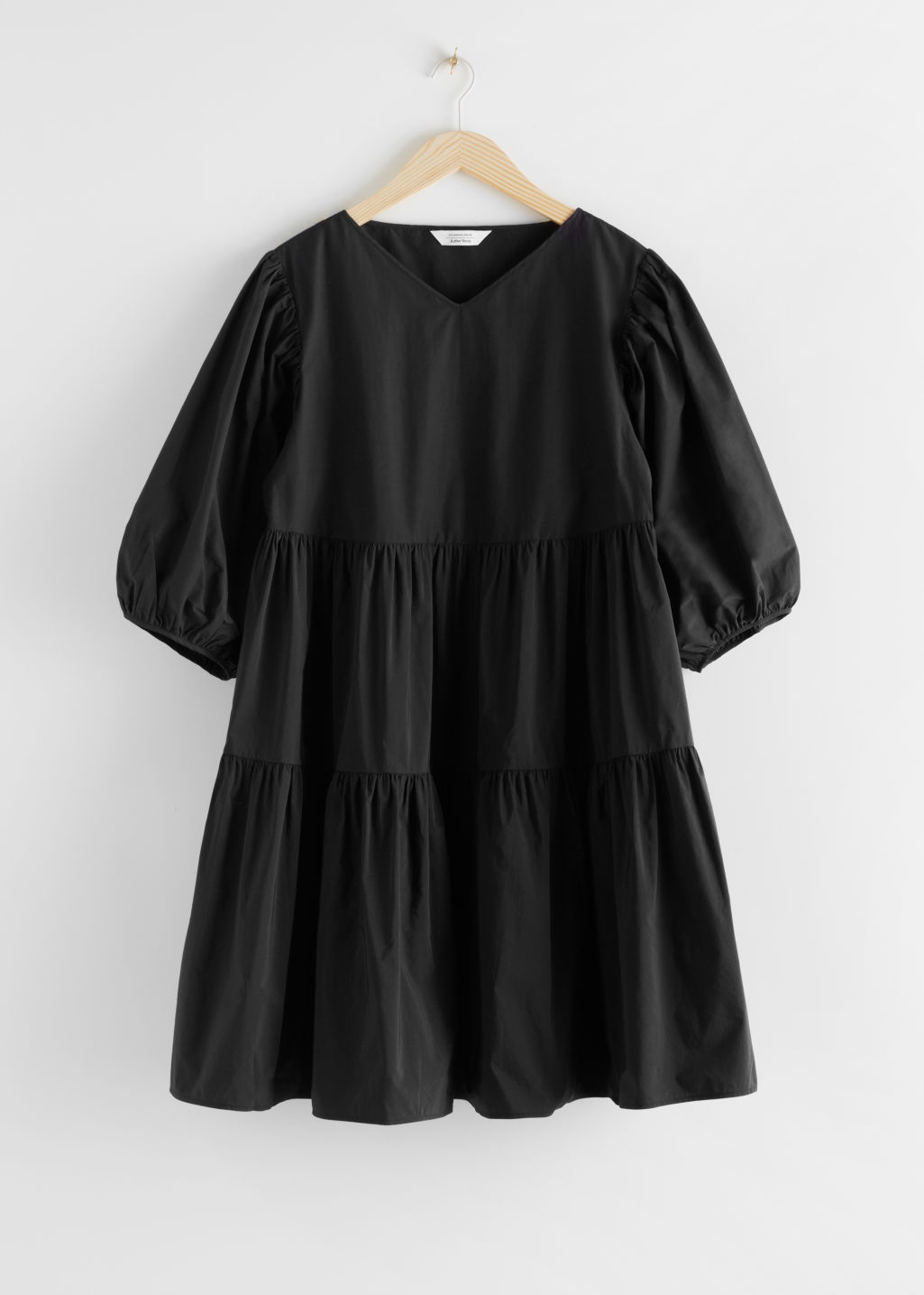 StillLife Front Image of Stories Cotton Blend Voluminous Midi Dress in Black