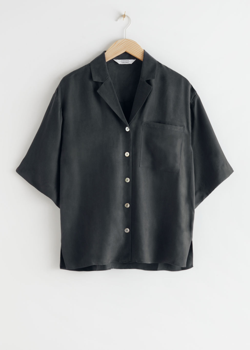 StillLife Front Image of Stories Cupro Blend Relaxed Fit Shirt in Black