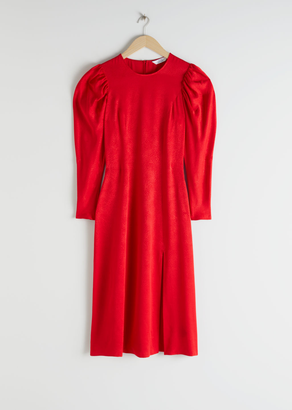 Front image of Stories jacquard puff sleeve midi slit dress in red