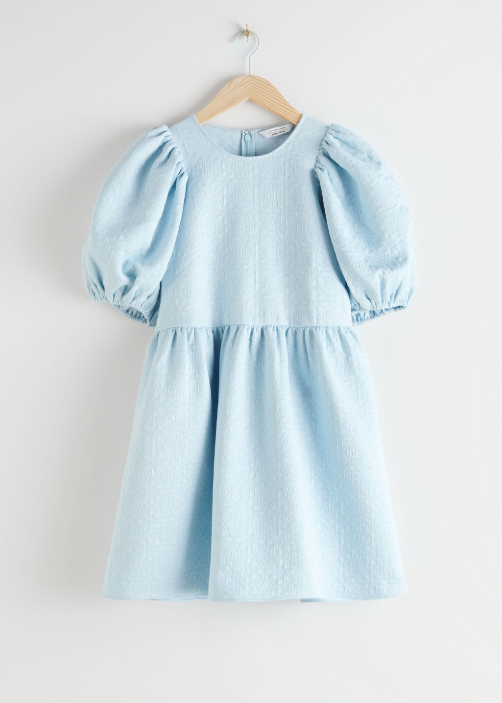 Front image of Stories jacquard mini gathered dress in turquoise