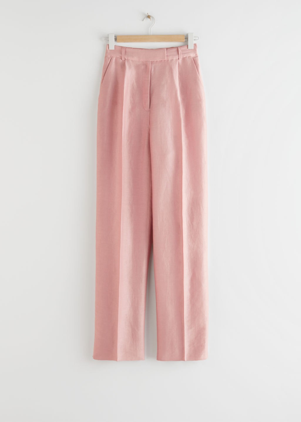 StillLife Front Image of Stories Loose Tapered Linen Blend Trousers in Pink