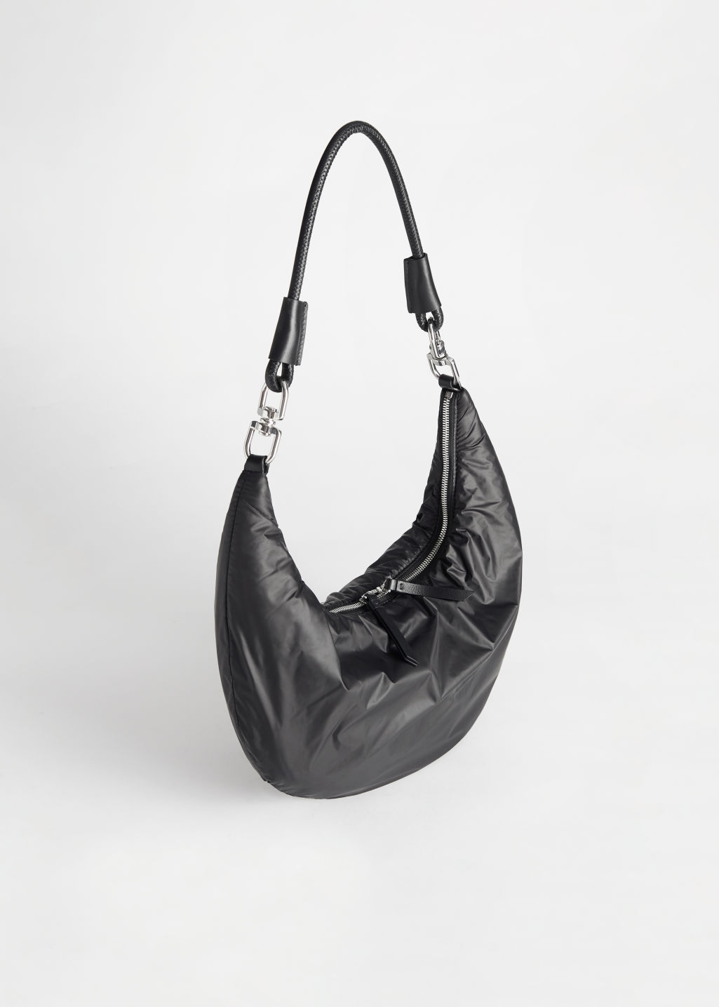 StillLife Front Image of Stories Padded Nylon Bag in Black
