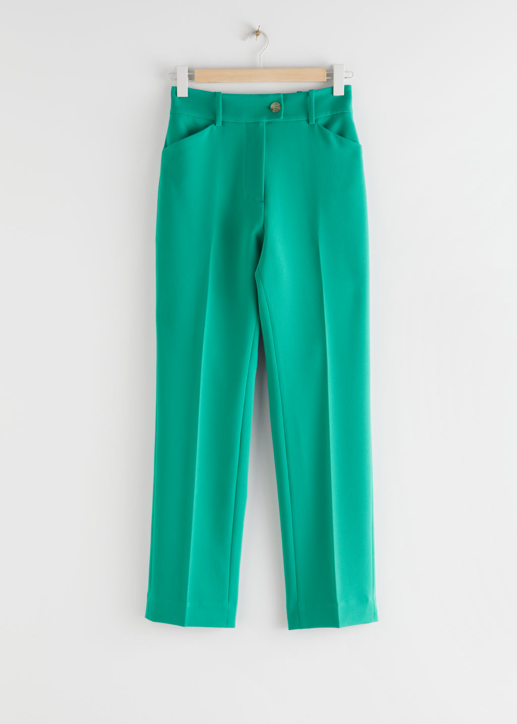 StillLife Front Image of Stories Flared High Rise Trousers in Green