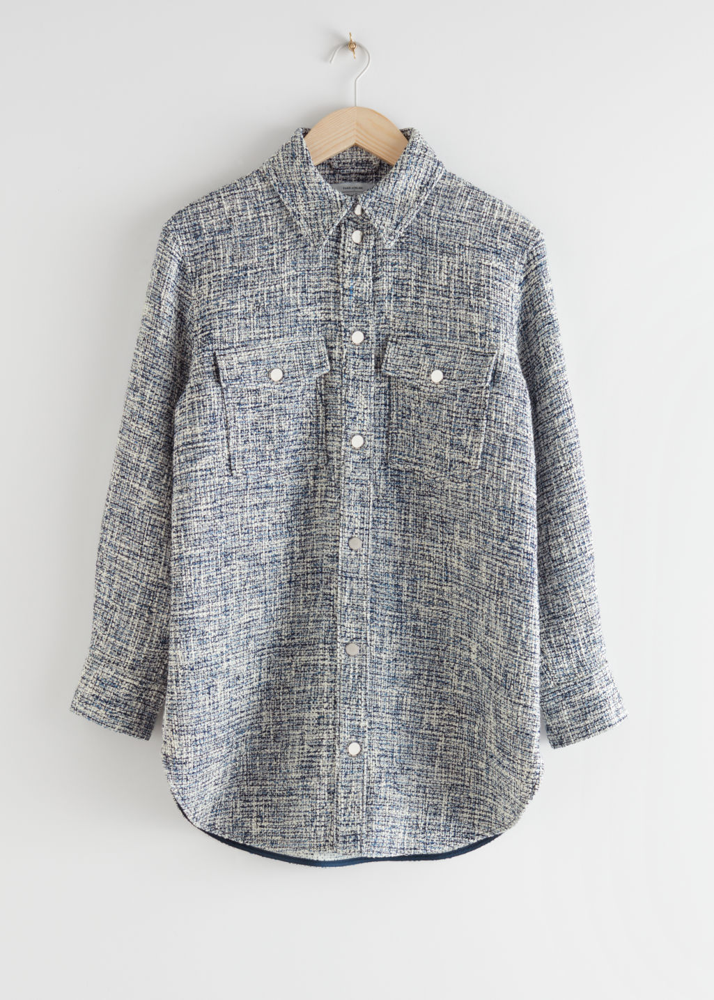 StillLife Front Image of Stories Oversized Tweed Shirt Jacket in Blue