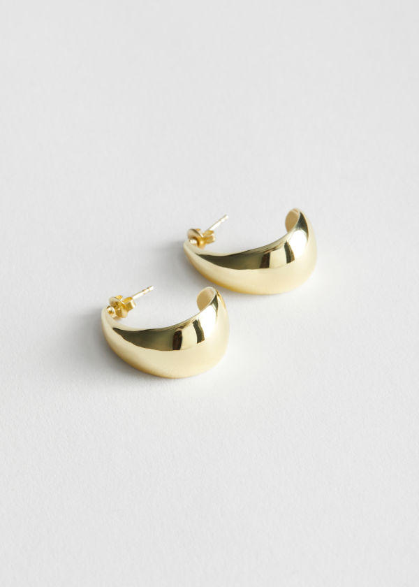 Curved Open Hoop Earrings