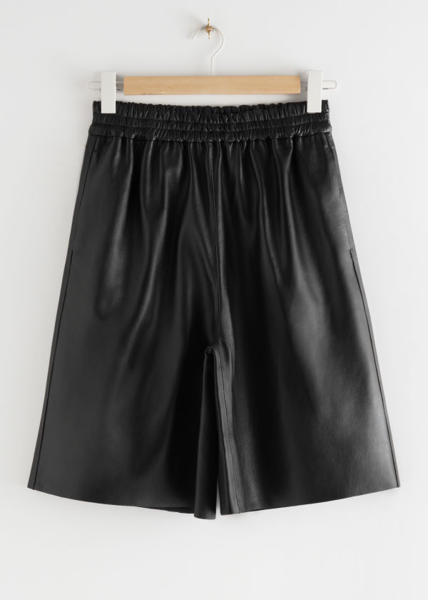 Pull-On Leather Shorts