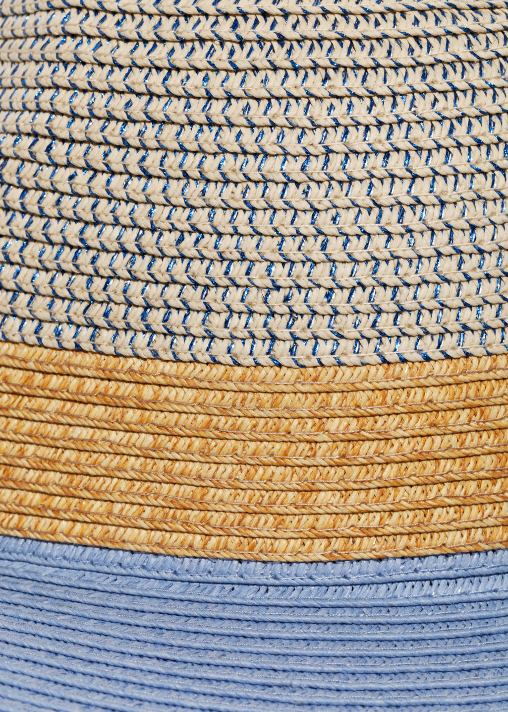Detailed image of Stories straw fedora hat in blue