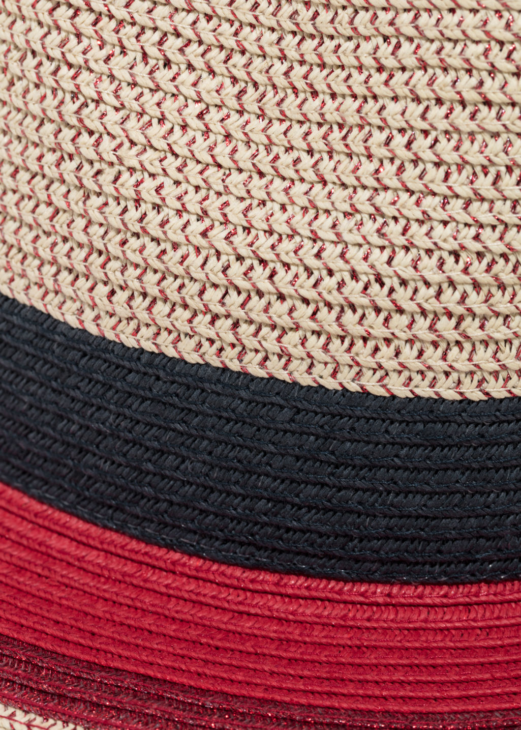 Detailed image of Stories straw fedora hat in red