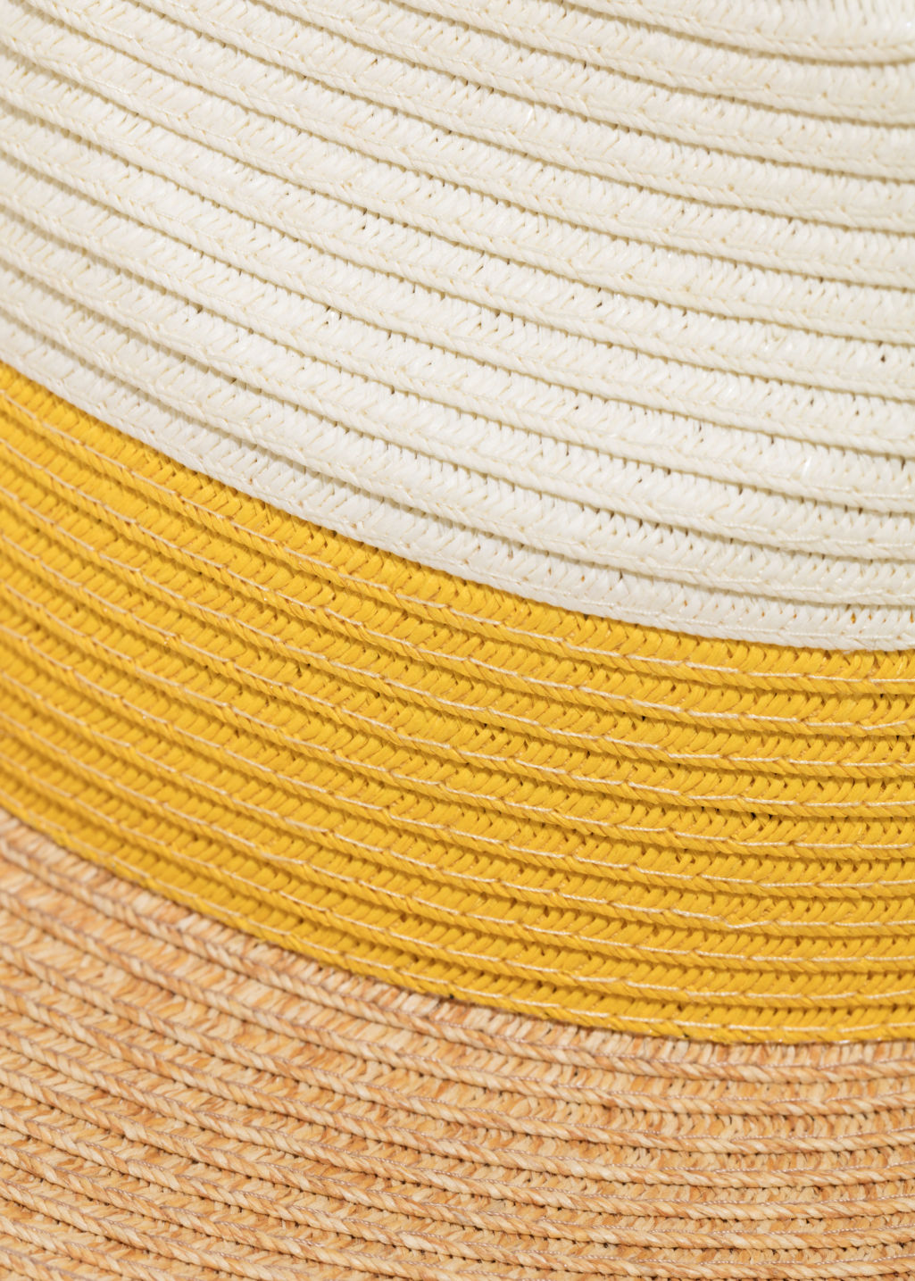 Detailed image of Stories straw fedora hat in yellow