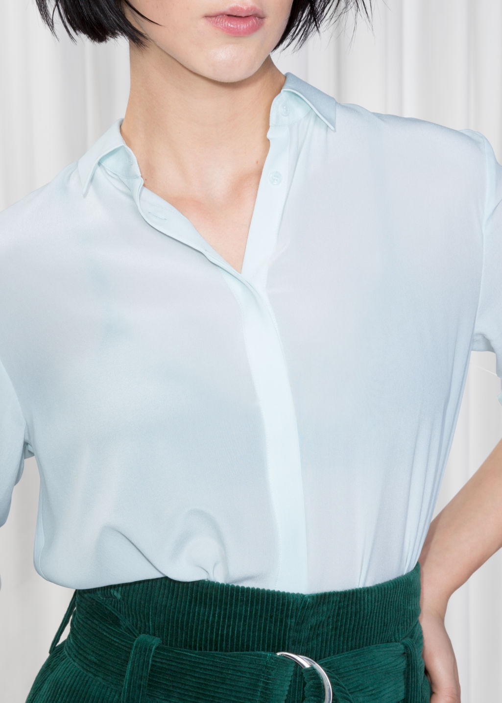 Detailed image of Stories straight fit silk shirt in turquoise