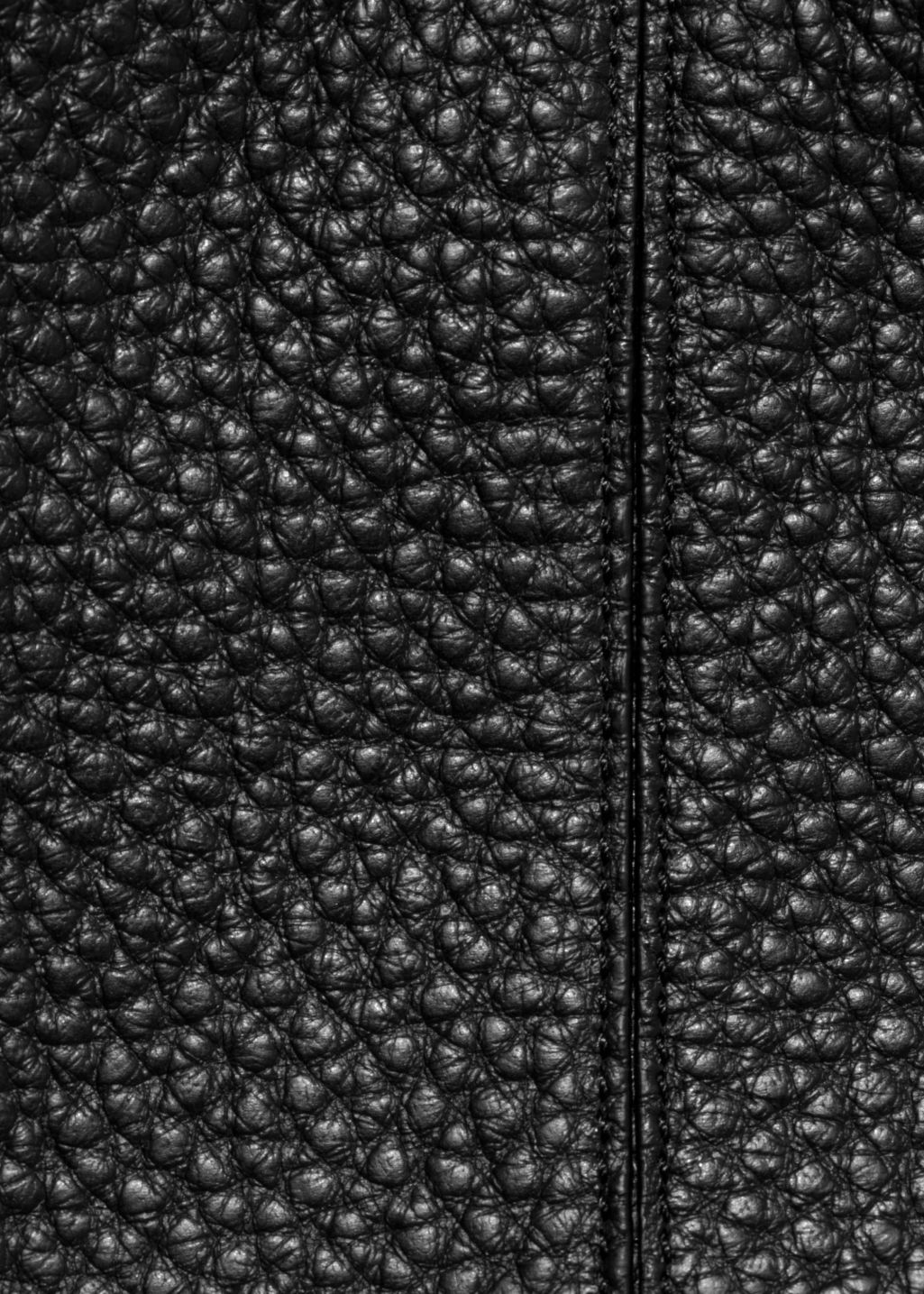 Detailed image of Stories grain leather hobo in black