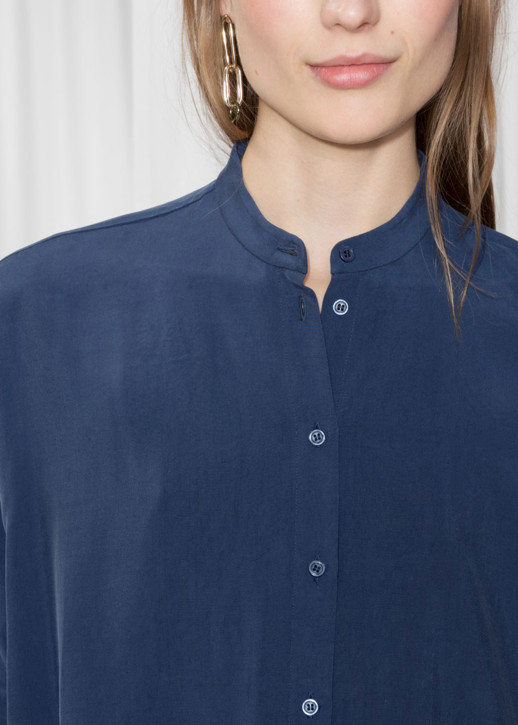 Detailed image of Stories oversized shirt dress in blue
