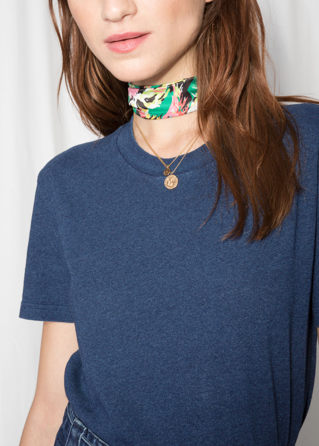 Detailed image of Stories cotton t-shirt in blue