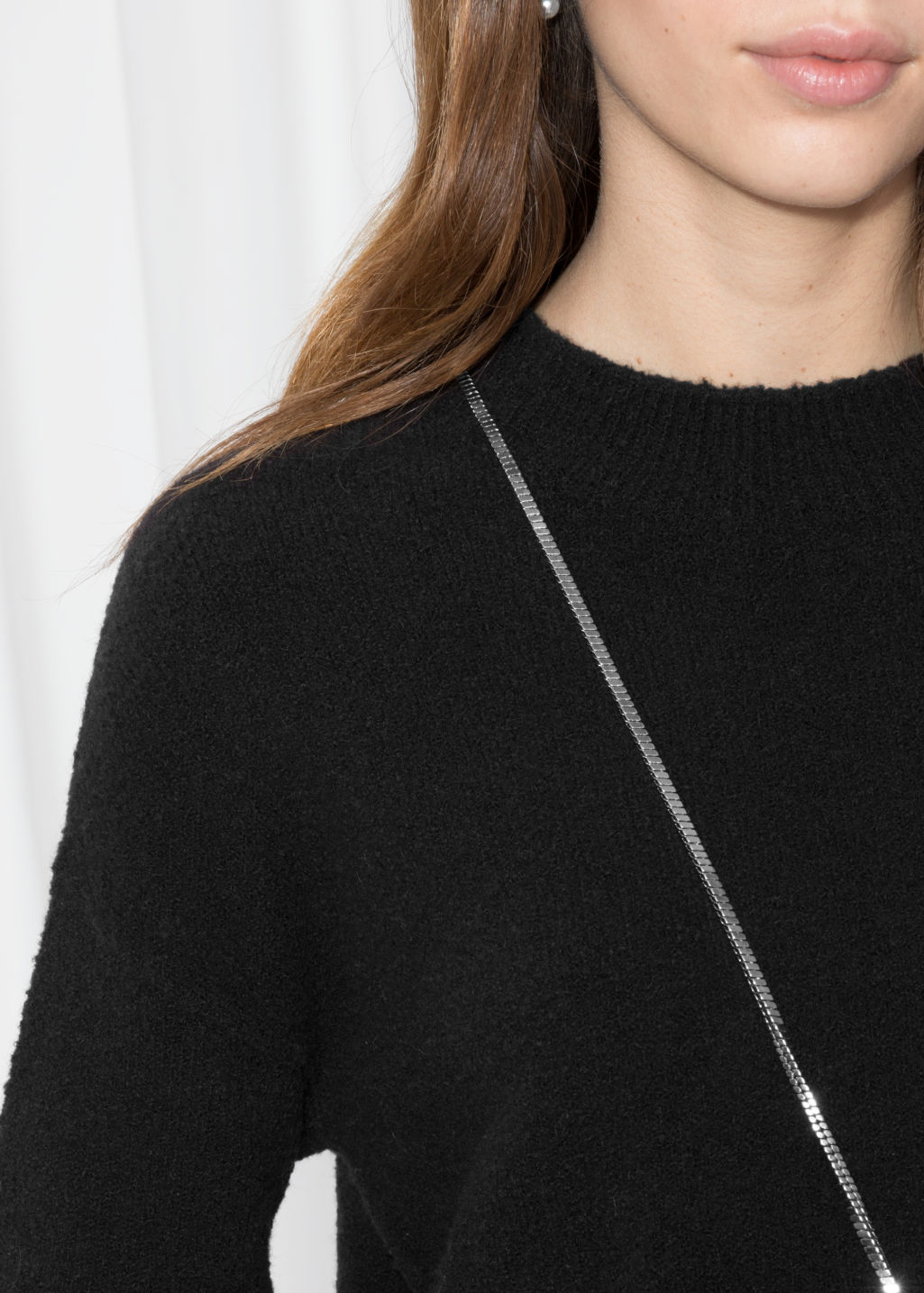Detailed image of Stories knit sweater in black