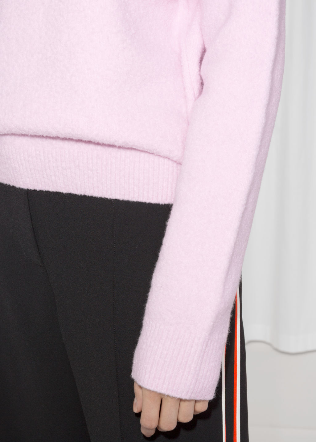 Detailed image of Stories knit sweater in pink